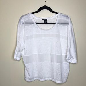 DKNY Jeans White Sheer Shirt Sz L